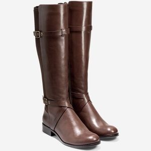 Cole Haan stretch leather knee riding boots Dorian